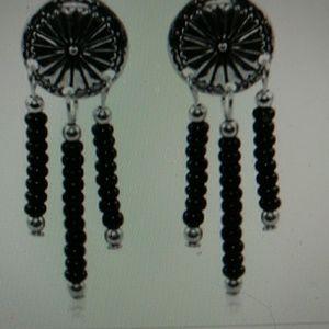 "Nwt- black onyx & sterling silver earrings 1-1/4"""